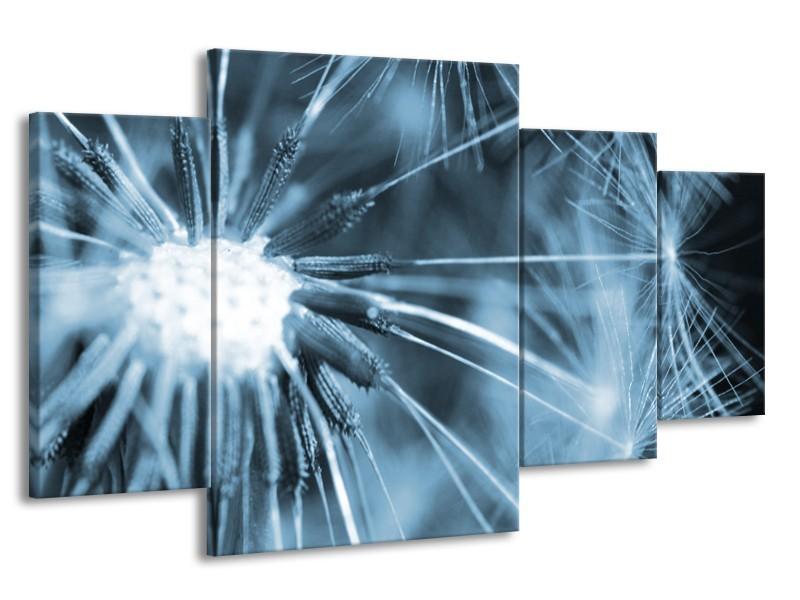 Canvas Schilderij Bloem | Blauw | 160x90cm 4Luik