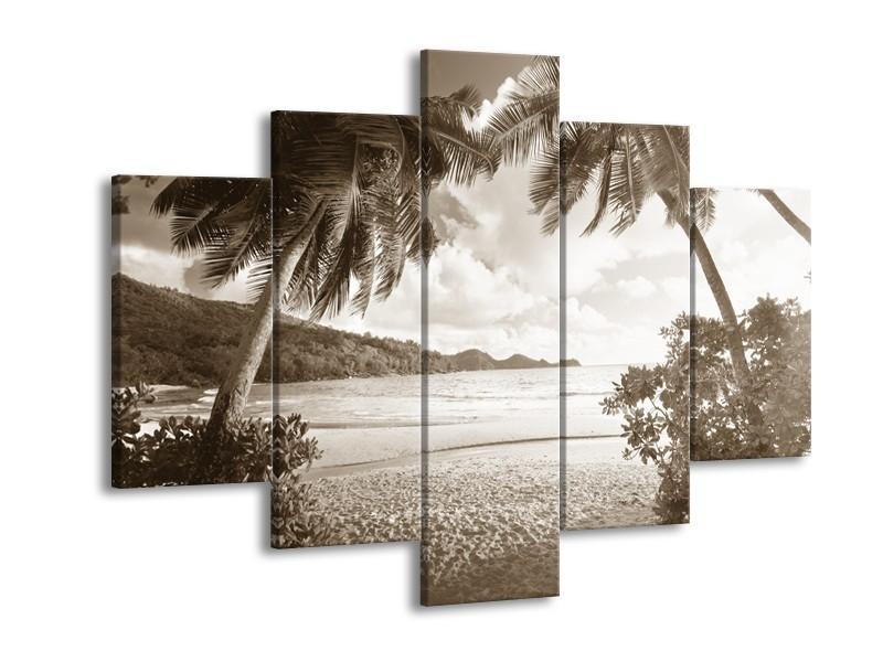 Canvas Schilderij Zee, Strand | Sepia | 150x105cm 5Luik