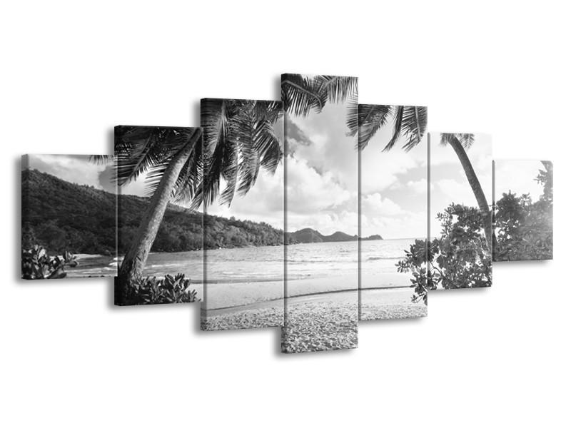 Canvas Schilderij Zee, Strand | Grijs, Zwart | 210x100cm 7Luik