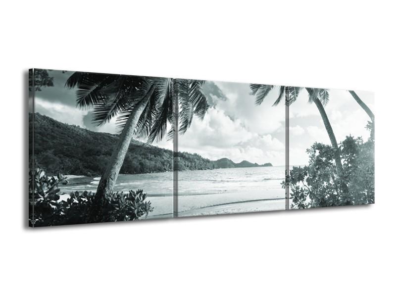 Canvas Schilderij Zee, Strand | Grijs, Groen | 150x50cm 3Luik