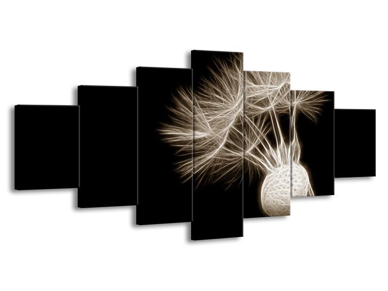 Glasschilderij Bloem | Sepia, Zwart | 210x100cm 7Luik