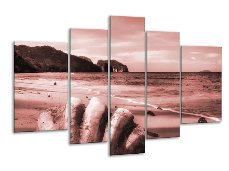 Canvas Schilderij Schelp, Strand | Bruin, Rood | 170x100cm 5Luik