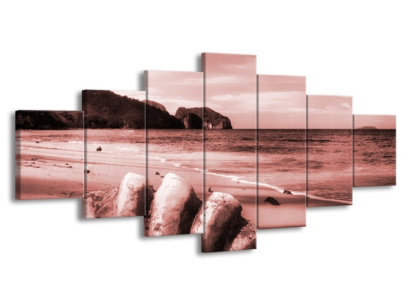 Canvas Schilderij Schelp, Strand | Bruin, Rood | 210x100cm 7Luik