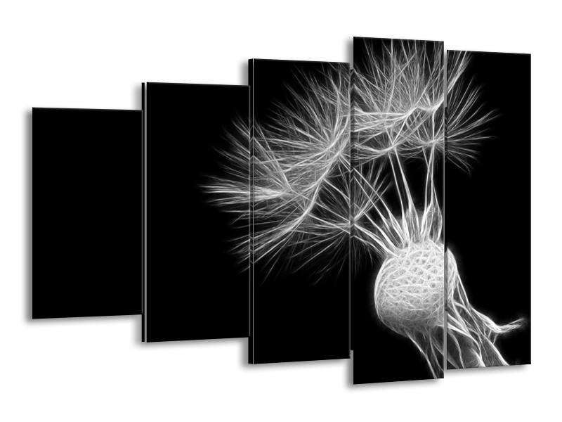 Glasschilderij Bloem | Zwart, Wit | 150x100cm 5Luik