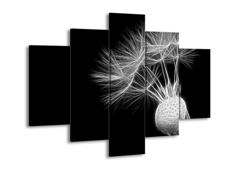 Glasschilderij Bloem   Zwart, Wit   150x105cm 5Luik