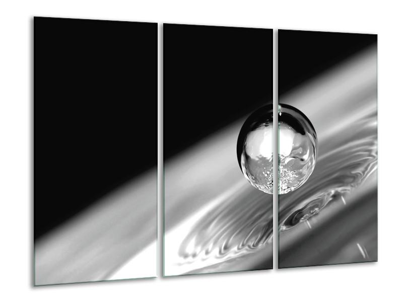Canvas Schilderij Macro | Zwart, Grijs, Zilver | 120x80cm 3Luik