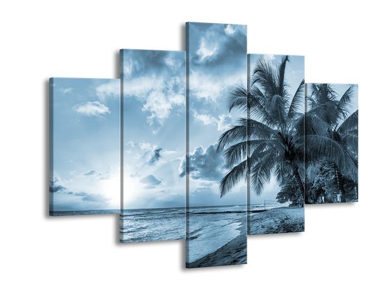 Canvas Schilderij Zee, Strand | Blauw, Grijs | 150x105cm 5Luik