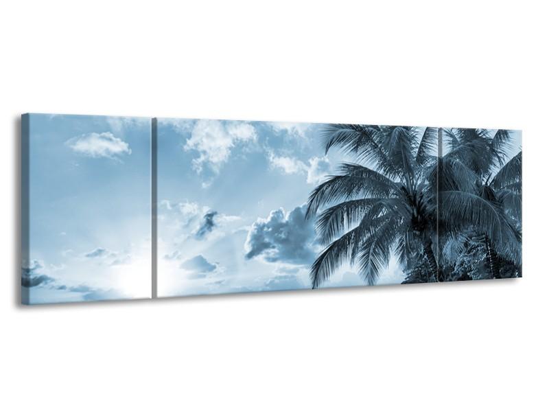 Canvas Schilderij Zee, Strand | Blauw, Grijs | 170x50cm 3Luik