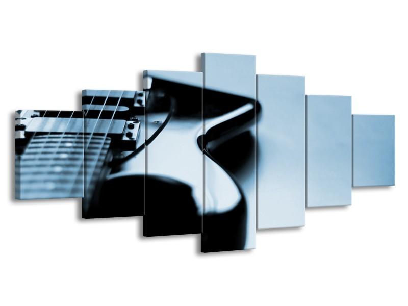 Glasschilderij Muziek   Blauw, Grijs   210x100cm 7Luik