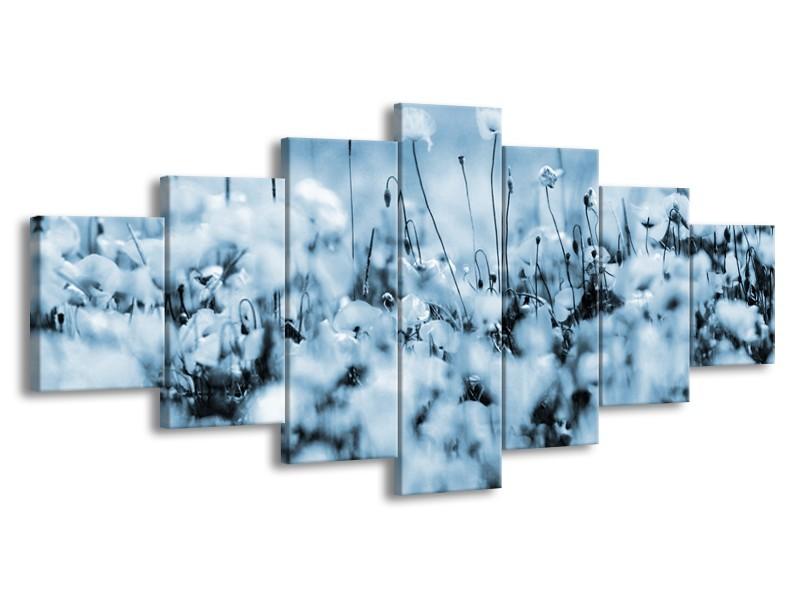 Canvas Schilderij Bloemen | Blauw, Grijs | 210x100cm 7Luik