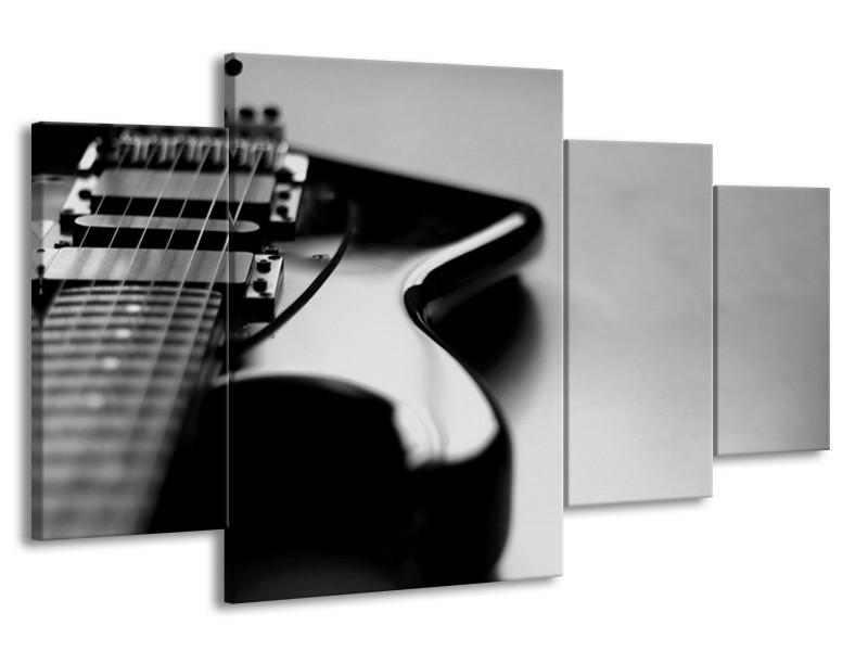 Canvas Schilderij Muziek | Grijs, Zwart | 160x90cm 4Luik