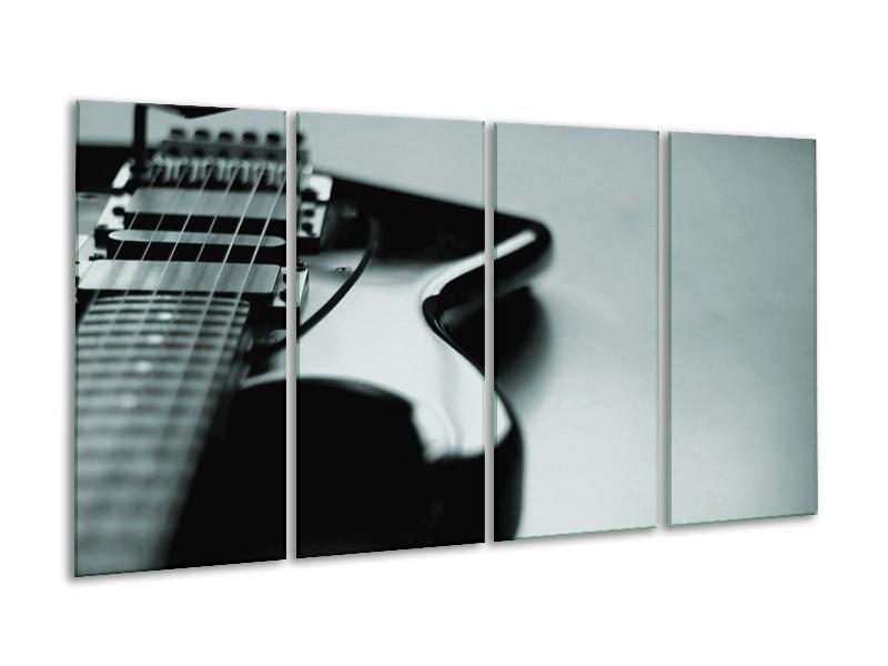Glasschilderij Muziek | Grijs, Zwart, Groen | 160x80cm 4Luik