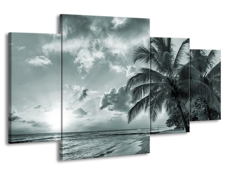 Canvas Schilderij Zee, Strand | Grijs, Zwart, Groen | 160x90cm 4Luik
