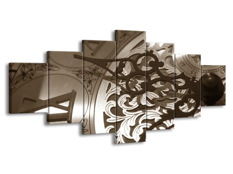 Glasschilderij Klok | Sepia, Bruin | 210x100cm 7Luik