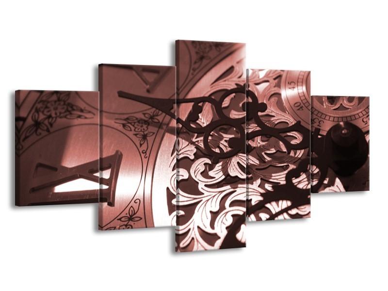 Canvas Schilderij Klok   Bruin, Rood   150x80cm 5Luik