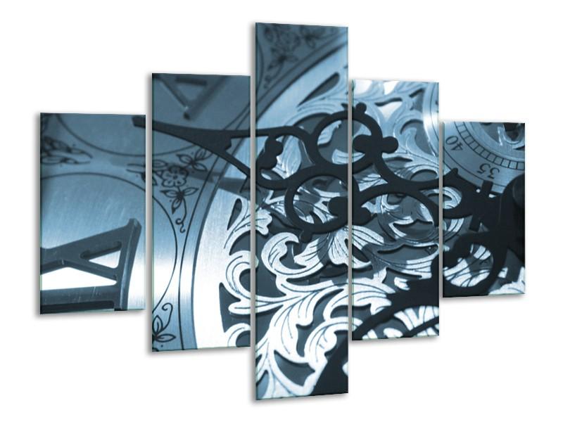 Glasschilderij Klok   Blauw, Grijs, Wit   100x70cm 5Luik