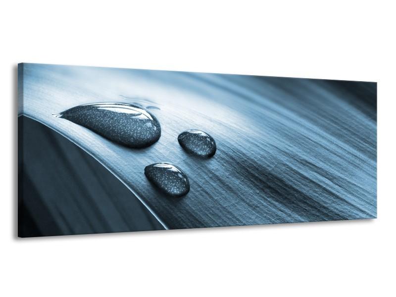 Canvas Schilderij Macro, Druppel | Blauw, Grijs | 145x58cm 1Luik