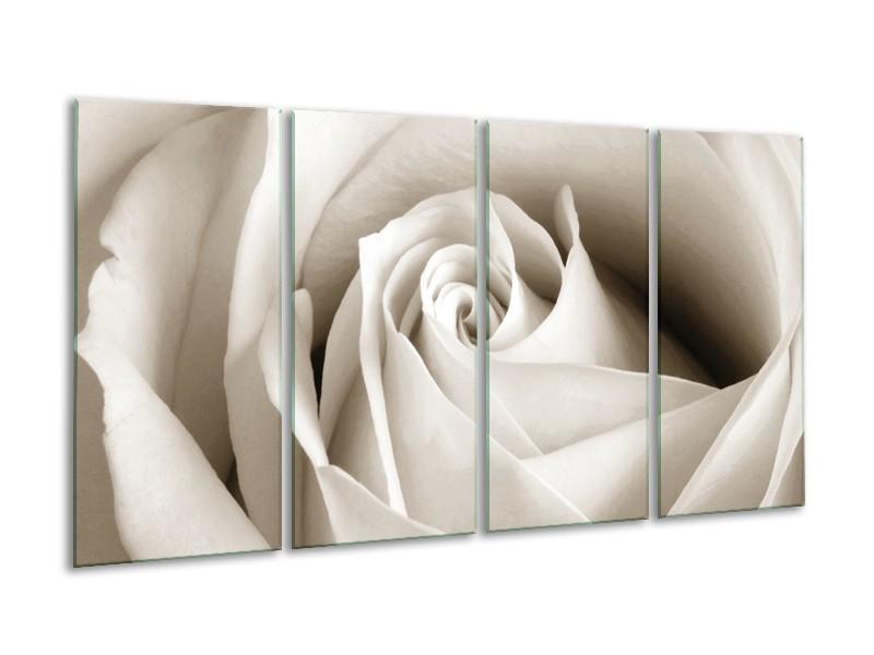 Canvas Schilderij Roos, Bloem   Crème, Sepia   160x80cm 4Luik