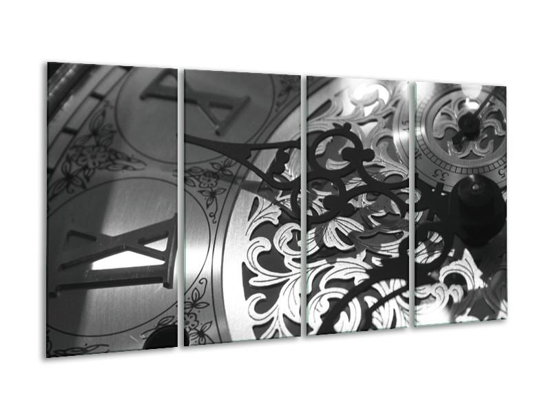 Glasschilderij Klok   Grijs, Zwart   160x80cm 4Luik