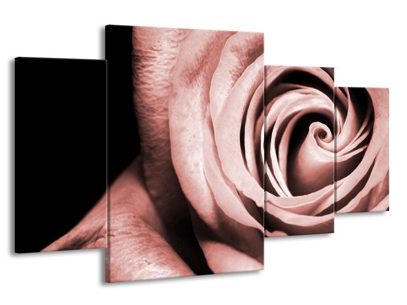 Glasschilderij Roos, Bloem | Bruin, Rood, Zwart | 160x90cm 4Luik
