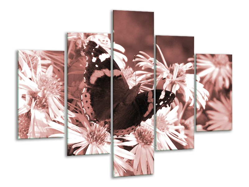 Glasschilderij Bloemen, Vlinder   Bruin, Rood, Zwart   100x70cm 5Luik