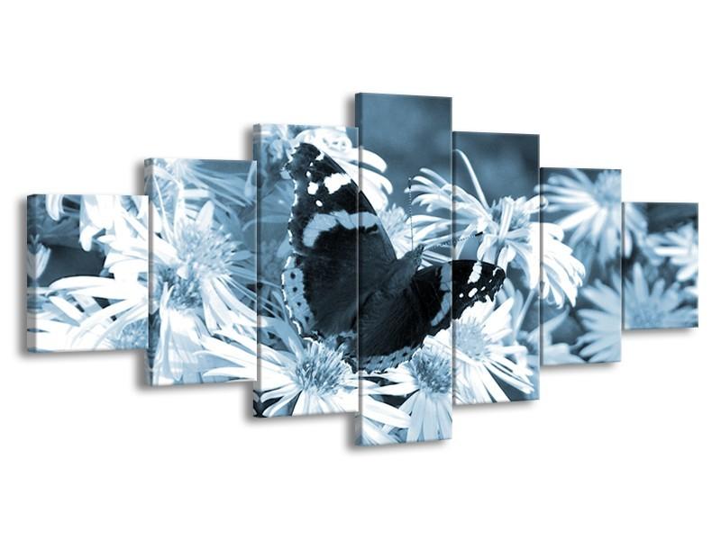 Glasschilderij Bloemen, Vlinder | Blauw, Grijs, Zwart | 210x100cm 7Luik