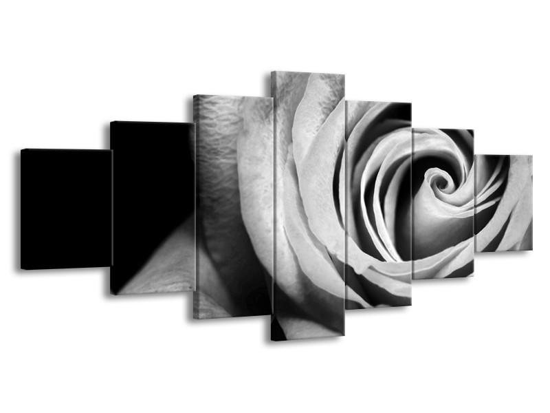 Canvas Schilderij Roos, Bloem | Zwart, Wit, Grijs | 210x100cm 7Luik