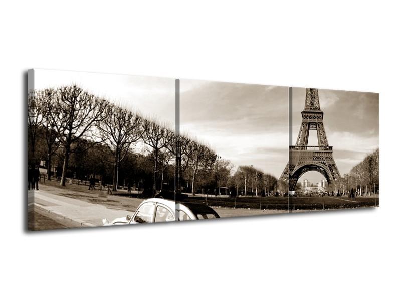 Canvas Schilderij Steden, Parijs | Sepia | 120x40cm 3Luik