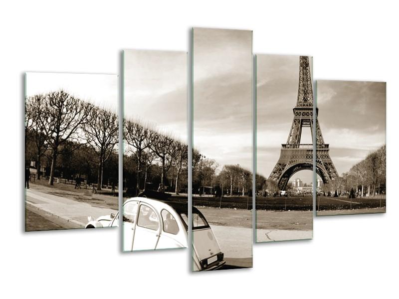 Canvas Schilderij Steden, Parijs | Sepia | 170x100cm 5Luik