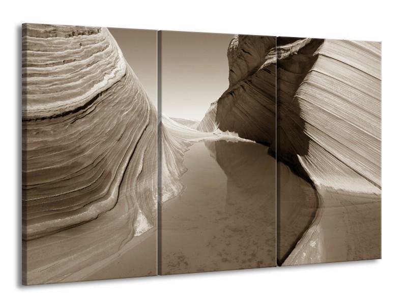 Canvas Schilderij Zand | Sepia | 165x100cm 3Luik