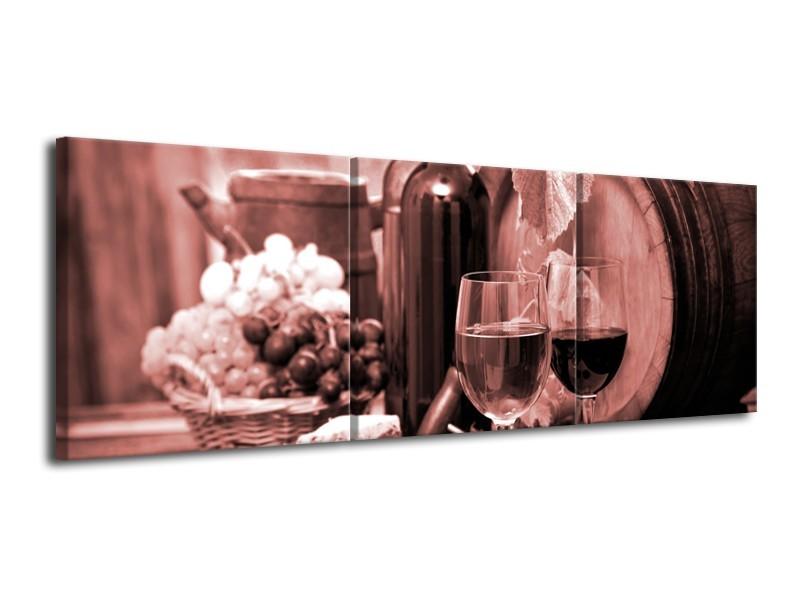 Canvas Schilderij Wijn, Keuken | Bruin, Rood | 120x40cm 3Luik