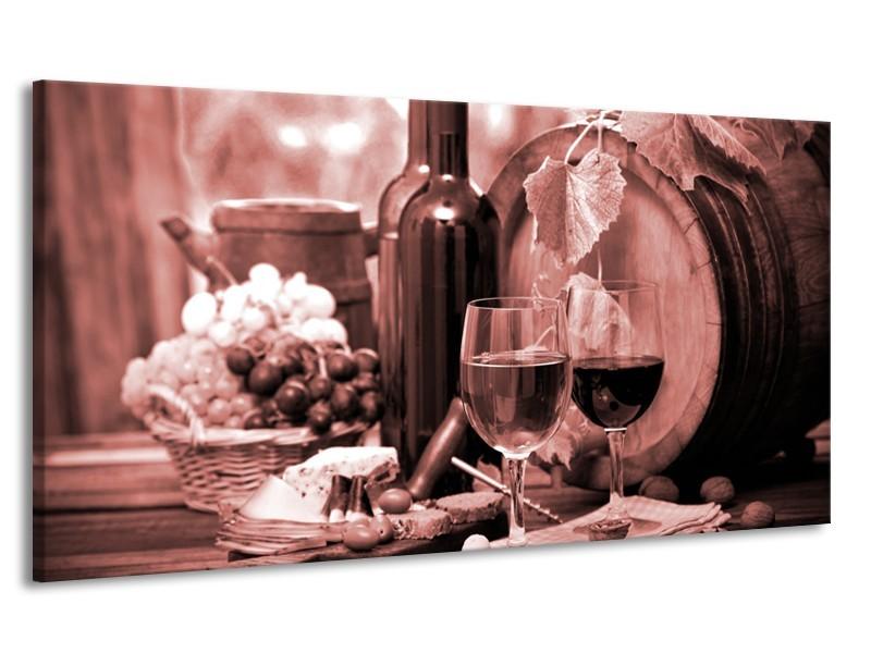 Canvas Schilderij Wijn, Keuken | Bruin, Rood | 170x90cm 1Luik