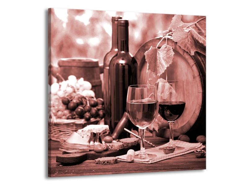 Canvas Schilderij Wijn, Keuken | Bruin, Rood | 70x70cm 1Luik