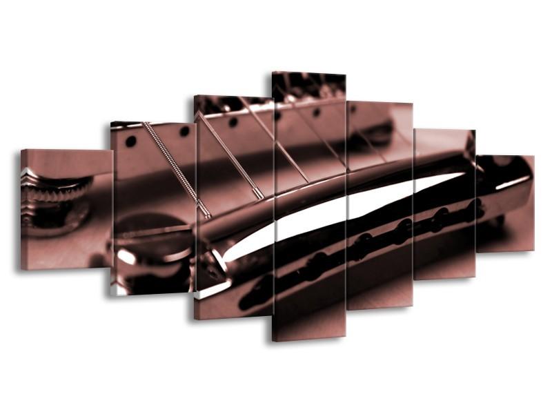 Canvas Schilderij Muziek | Bruin, Rood | 210x100cm 7Luik