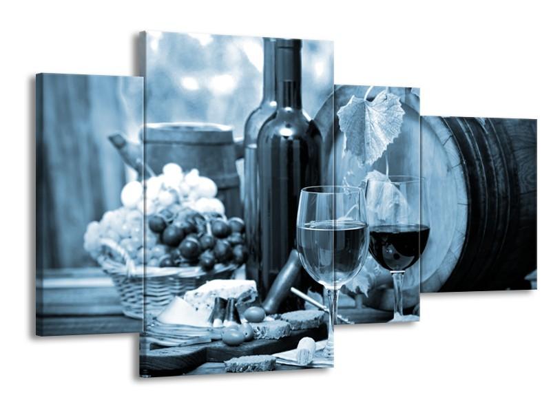 Canvas Schilderij Wijn, Keuken | Blauw, Grijs | 120x75cm 4Luik