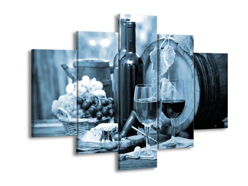 Canvas Schilderij Wijn, Keuken | Blauw, Grijs | 150x105cm 5Luik
