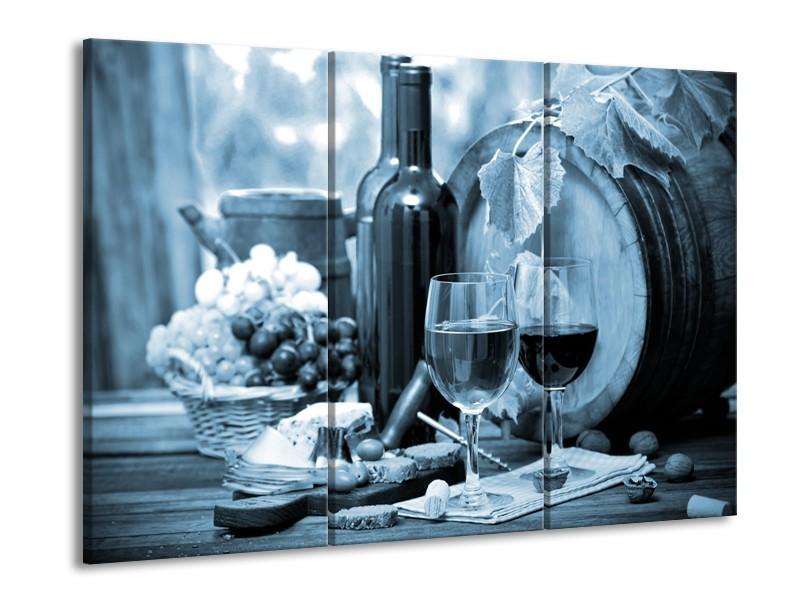 Canvas Schilderij Wijn, Keuken | Blauw, Grijs | 60x90cm 3Luik