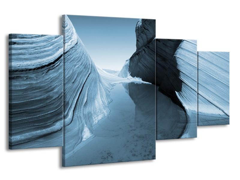 Canvas Schilderij Zand | Blauw, Grijs | 160x90cm 4Luik