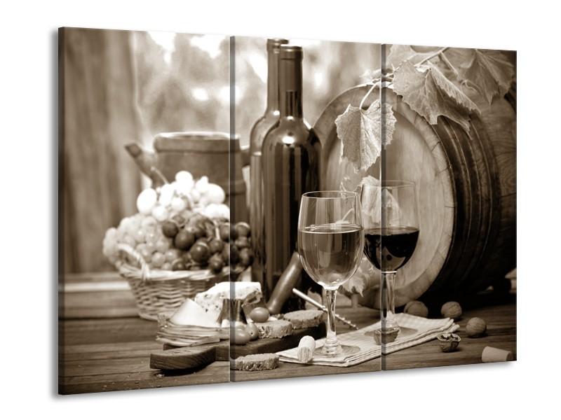 Canvas Schilderij Wijn, Keuken | Sepia | 60x90cm 3Luik