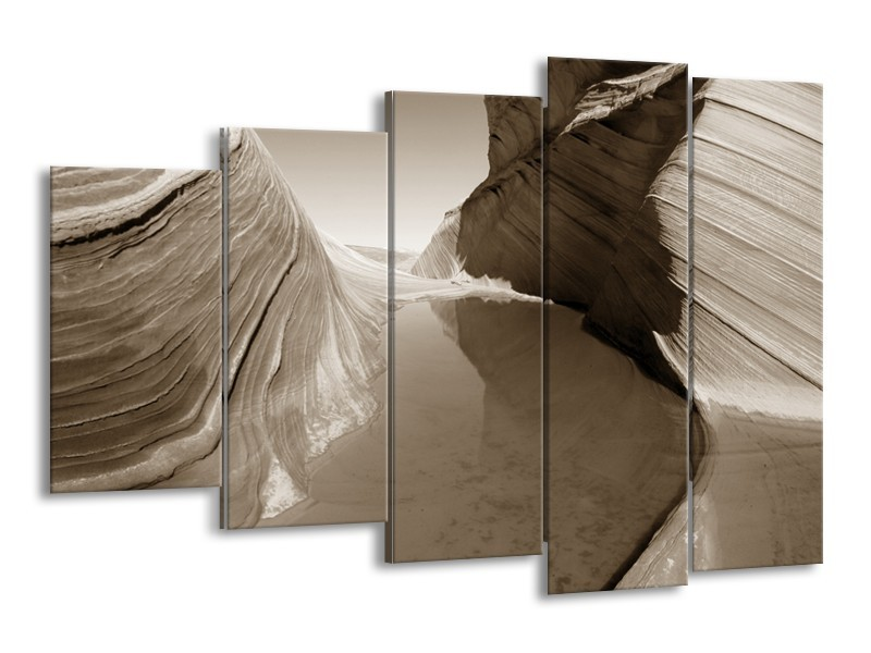 Canvas Schilderij Zand | Sepia | 150x100cm 5Luik