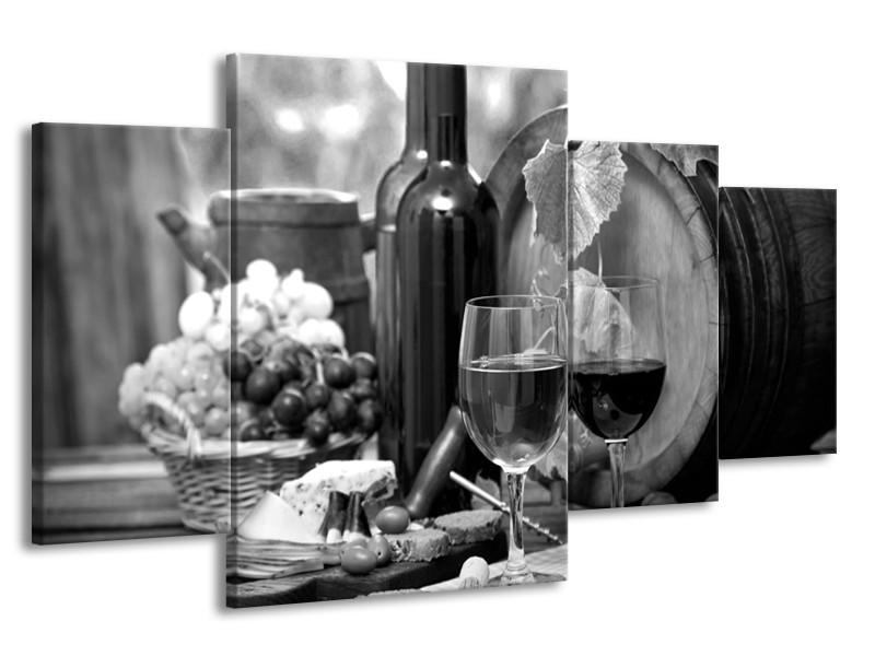 Canvas Schilderij Wijn, Keuken | Zwart, Wit, Grijs | 160x90cm 4Luik