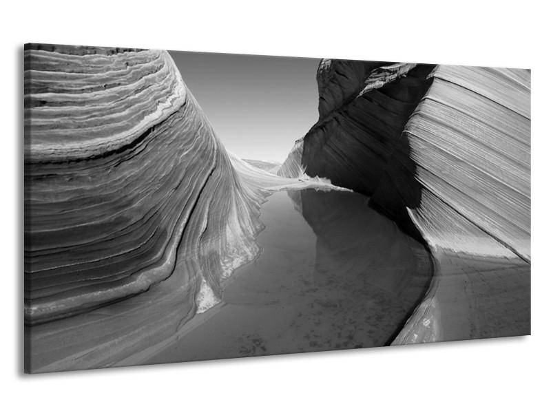Canvas Schilderij Zand | Zwart, Grijs | 190x100cm 1Luik