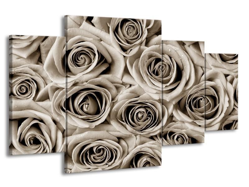 Canvas Schilderij Roos, Bloem   Sepia   160x90cm 4Luik