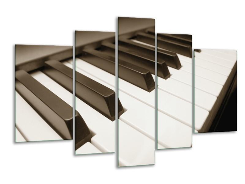 Glasschilderij Muziek, Piano   Sepia   170x100cm 5Luik