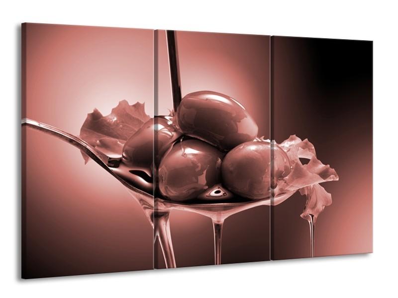 Canvas Schilderij Olijven, Keuken | Bruin, Rood | 165x100cm 3Luik