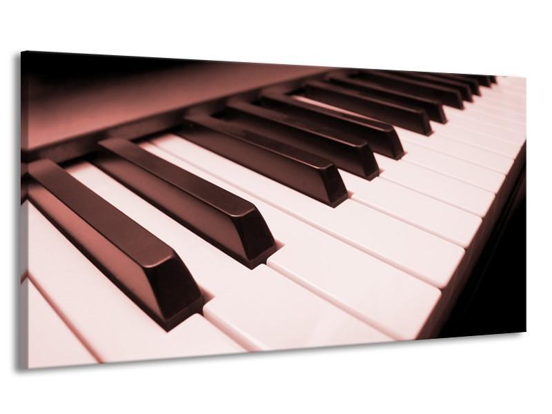 Canvas Schilderij Muziek, Piano | Bruin, Rood | 170x90cm 1Luik