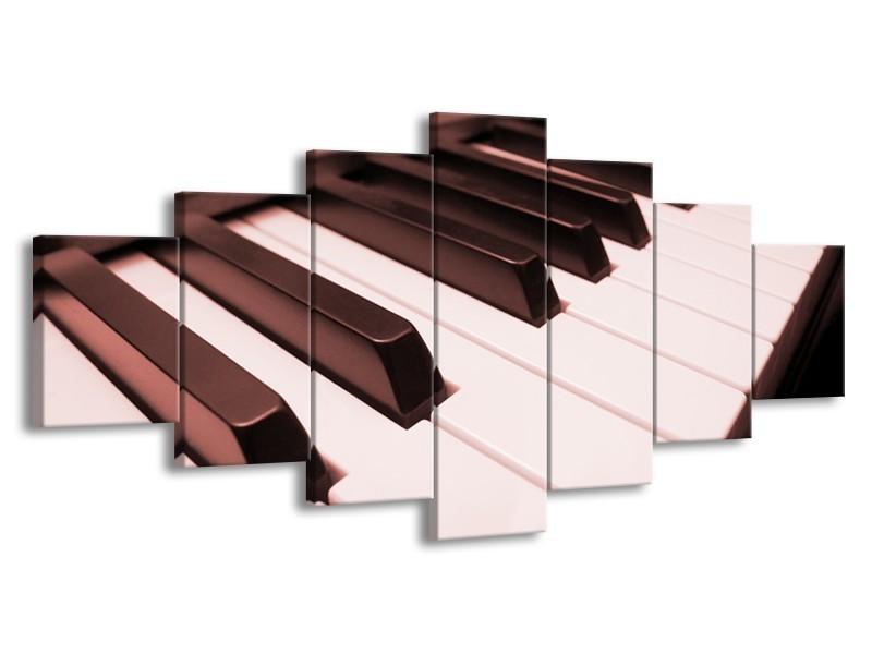 Glasschilderij Muziek, Piano   Bruin, Rood   210x100cm 7Luik