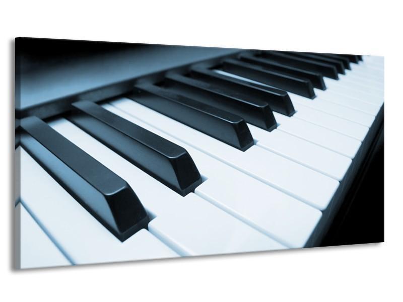 Canvas Schilderij Muziek, Piano | Blauw, Grijs | 170x90cm 1Luik