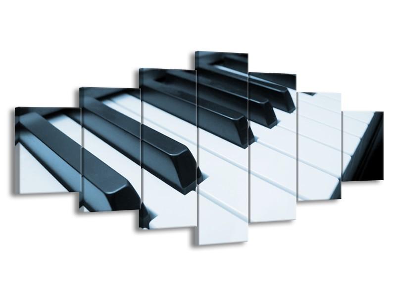 Glasschilderij Muziek, Piano   Blauw, Grijs   210x100cm 7Luik