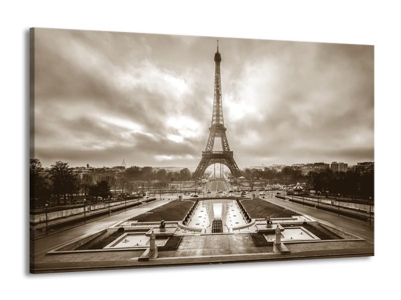 Glasschilderij Parijs, Eiffeltoren | sepia | 140x90cm 1Luik